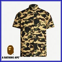 A BATHING APE Camouflage Cotton Short Sleeves Shirts