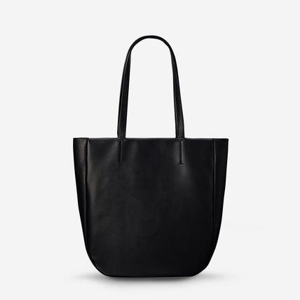 Logo A4 Plain Leather Office Style Totes