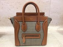 CELINE Luggage Other Check Patterns Calfskin Blended Fabrics Street Style