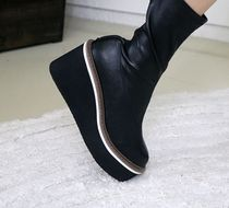 Round Toe Casual Style Faux Fur Street Style Handmade