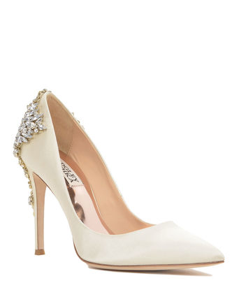 Plain Pin Heels With Jewels Elegant Style Shoes
