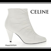 CELINE Plain Leather Block Heels Elegant Style