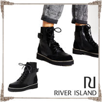 River Island Lace-up Faux Fur Blended Fabrics Plain Chunky Heels