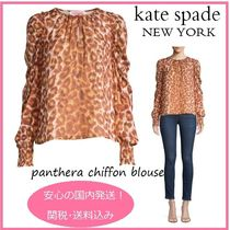 kate spade new york Leopard Patterns Casual Style Silk Long Sleeves