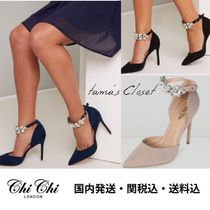Chi Chi London Spawn Skin Plain Pin Heels With Jewels Elegant Style Shoes