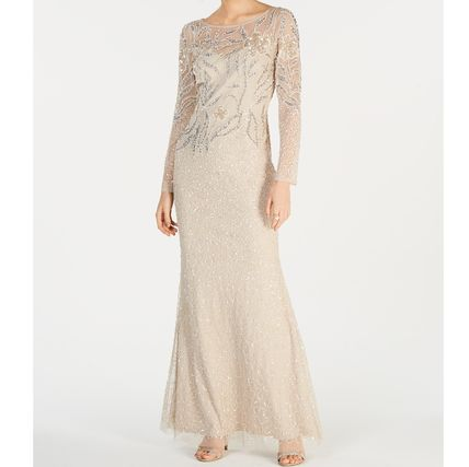 Flower Patterns Maxi Long Sleeves Long Lace With Jewels