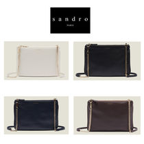 sandro Chain Leather Elegant Style Shoulder Bags