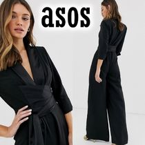 ASOS Wrap Dresses V-Neck Long Sleeves Plain Long Party Style