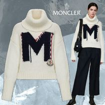 MONCLER Casual Style Wool Long Sleeves Plain High-Neck Sweaters