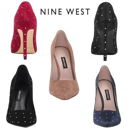 Dots Suede Plain Pin Heels Party Style