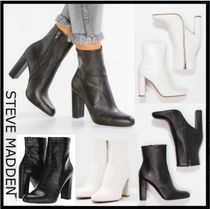 Steve Madden Round Toe Casual Style Plain Leather Chunky Heels