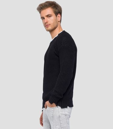 Crew Neck Pullovers Low Gauge Street Style Long Sleeves