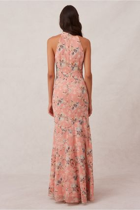 Flower Patterns Maxi Sleeveless Halter Neck Long Dresses