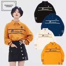ROMANTIC CROWN Crew Neck Casual Style Unisex Street Style Long Sleeves