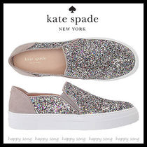 kate spade new york Round Toe Rubber Sole Casual Style Suede Street Style Plain