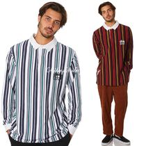 STUSSY Stripes Street Style Long Sleeves Cotton Polos