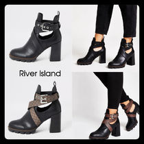 River Island Casual Style Plain Block Heels Ankle & Booties Boots