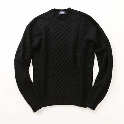 Crew Neck Cable Knit Wool Low Gauge Long Sleeves Plain