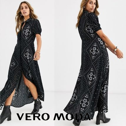 Long Sleeves Long Shirt Dresses Elegant Style Front Button