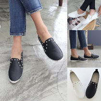 Round Toe Rubber Sole Casual Style Faux Fur Studded Plain