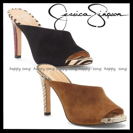Open Toe Suede Other Animal Patterns Pin Heels Elegant Style