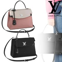 Louis Vuitton LOCKME Bi-color Plain Leather Office Style Handbags