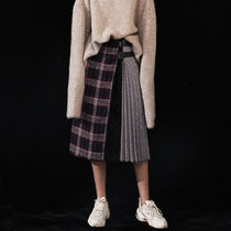 Gingham Pleated Skirts Cotton Long Office Style Oversized