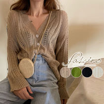 Cable Knit Casual Style Rib Long Sleeves Plain Cotton Medium
