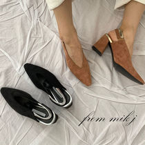 Suede Plain Party Style Chunky Heels Pumps & Mules