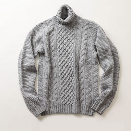 Crew Neck Cable Knit Wool Long Sleeves Sweaters