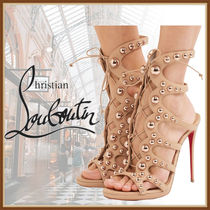 Christian Louboutin Open Toe Casual Style Studded Plain Leather Pin Heels