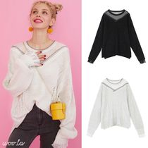 ELF SACK Crew Neck Dots Casual Style Blended Fabrics Street Style