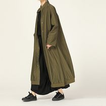 Nylon Street Style Plain Long MA-1 Oversized Khaki