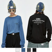 LMC Crew Neck Unisex Street Style Long Sleeves Plain Cotton