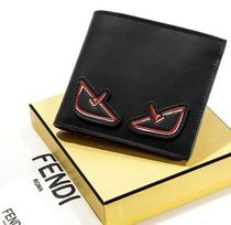 FENDI Unisex Calfskin Plain Handmade Folding Wallets