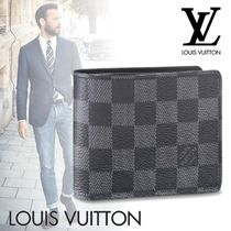 Louis Vuitton DAMIER GRAPHITE Other Check Patterns Canvas Blended Fabrics Folding Wallets