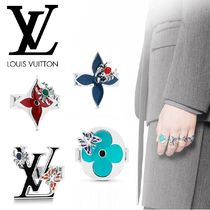 Louis Vuitton Flower Patterns Unisex With Jewels Rings