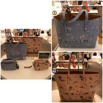 Coach Tropical Patterns A4 Leather Office Style Totes