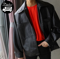 ASCLO Short Faux Fur Plain Oversized Biker Jackets