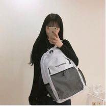 Almost Blue Unisex Street Style A4 Logo Backpacks