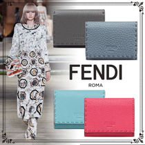 FENDI SELLERIA Unisex Calfskin Street Style Plain Card Holders
