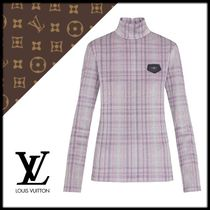 Louis Vuitton Other Check Patterns Silk Long Sleeves High-Neck T-Shirts