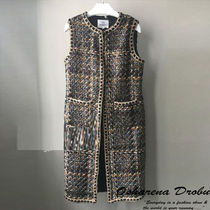 Other Check Patterns Blended Fabrics Long Office Style Vests