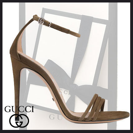 0583f657555 GUCCI 2019 SS Open Toe Suede Plain Pin Heels Party Style Heeled Sandals