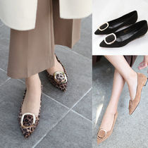 Leopard Patterns Suede Plain Elegant Style Pointed Toe Shoes