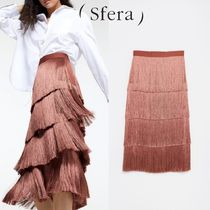 Sfera Plain Medium Elegant Style Midi Skirts