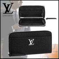 Louis Vuitton LOCKME Plain Leather Long Wallets