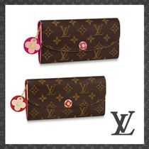 Louis Vuitton PORTEFEUILLE EMILIE Monogram Studded Leather Long Wallets