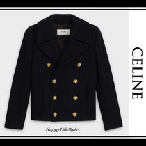 CELINE Short Casual Style Wool Bi-color Plain Peacoats