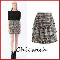 Chicwish Pencil Skirts Short Other Check Patterns Tweed Tassel Skirts